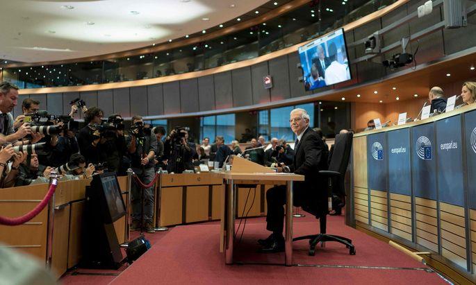 Der neue Hohe Vertreter der EU für Außen- und Sicherheitspolitik, Josep Borrell, bei seiner Anhörung am Montagabend.