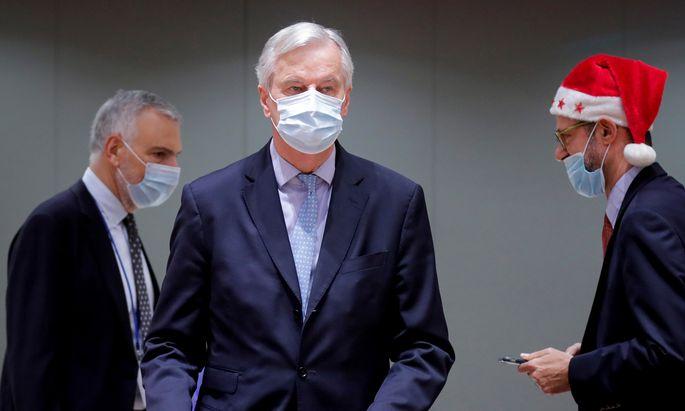 Brüsseler Bescherung: Chefverhandler Michel Barnier macht Vertreter der EU-27 mit dem Brexit-Abkommen vertraut.