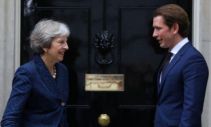 May und Kurz am 9. Juli in der Londoner Downing Street