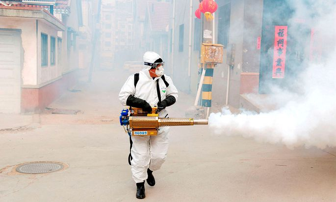 Ein Arbeiter desinfiziert ein Viertel in Qingdao in der chinesischen Provinz Shandong.