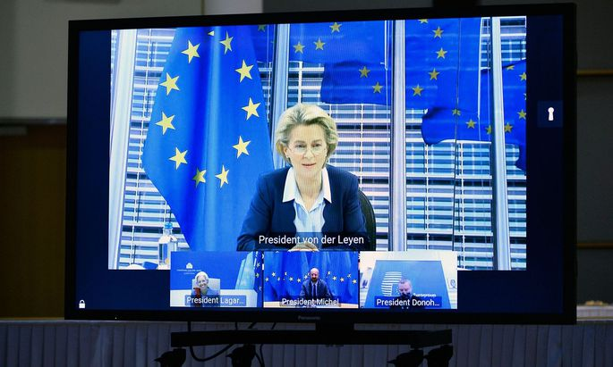 Ursula Von der Leyen bei der Videokonferenz am Freitag
