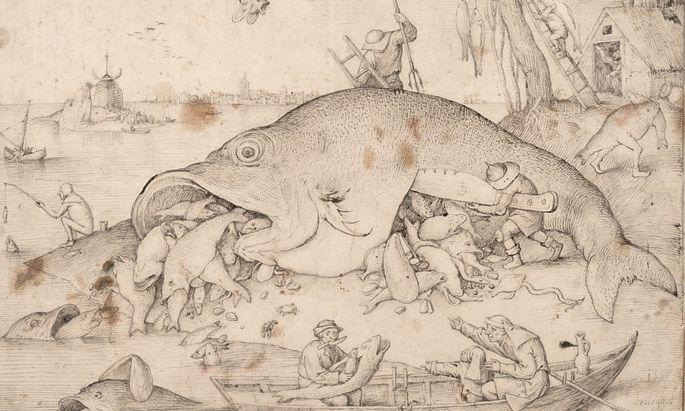 """""""Die großen Fische fressen die kleinen"""", Vorzeichnung von Pieter Bruegel mit Feder und Pinsel, 1556. Hier steht noch über dem Ruder seine Signatur. Im Kupferstich gab es der Verleger dann marketingtechnisch gefinkelt als """"Erfindung"""" von Hieronymus Bosch aus."""