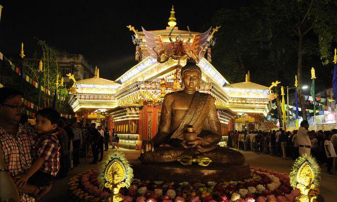 KOLKATA INDIA OCTOBER 5 This year Bhutan is theme of Suruchi Sangha Durga Puja on October 5 201
