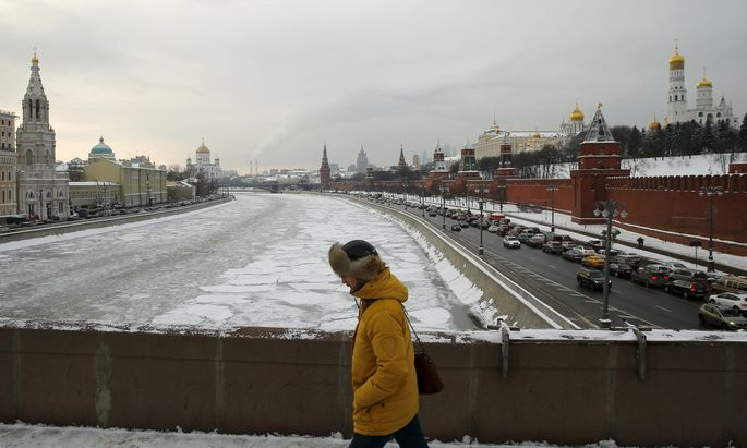 A man walks in central Moscow