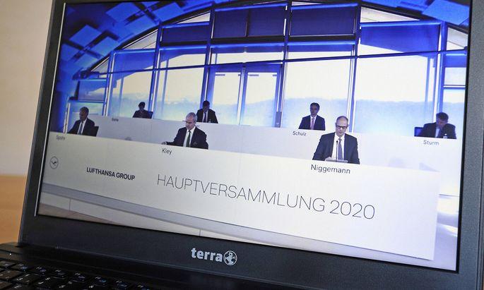 Hauptversammlungen – im Bild jene der Lufthansa – finden derzeit häufig virtuell statt.