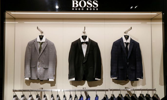 FILE PHOTO: Jackets are on display in the Hugo Boss section in the Central Universal Department Store in Kiev