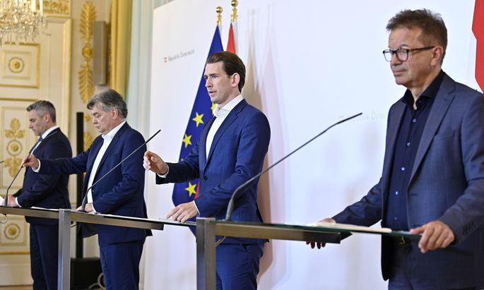 Innenminister Karl Nehammer (ÖVP), Vizekanzler Werner Kogler (Grüne), Bundeskanzler Sebastian Kurz (ÖVP), Gesundheitsminister Rudolf Anschober (Grüne)
