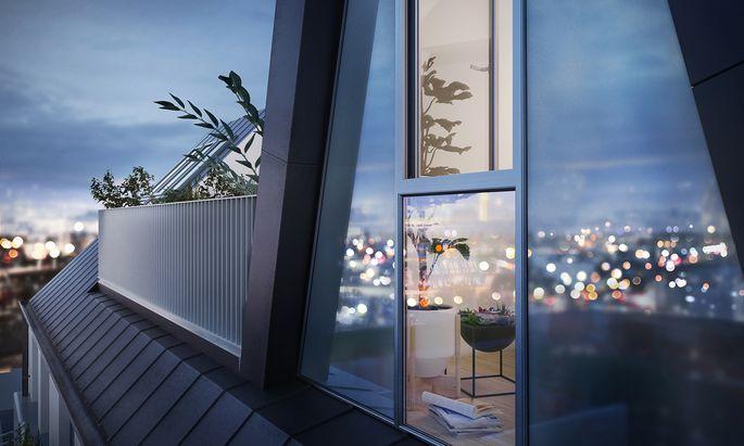 Terrassen und Ausblick sind auf dem Wohnungsmarkt begehrte Ausstattungsmerkmale. Im Bild ein Objekt in der Siebenbrunnengasse.