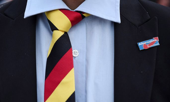 A man with a tie in German national colours wears a pin of the anti-immigrant Alternative for Deutschland (AfD) during the state election Mecklenburg-Vorpommern in Schwerin