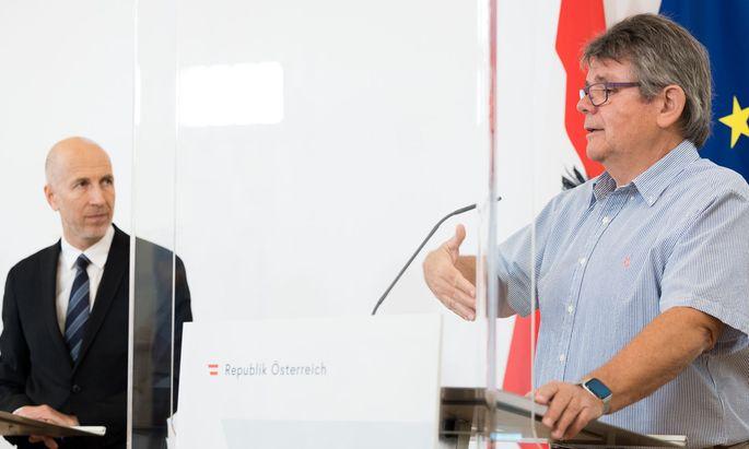 Arbeitsminister Martin Kocher, ÖGB-Präsident Wolfgang Katzian: Kurzarbeit wird verlängert