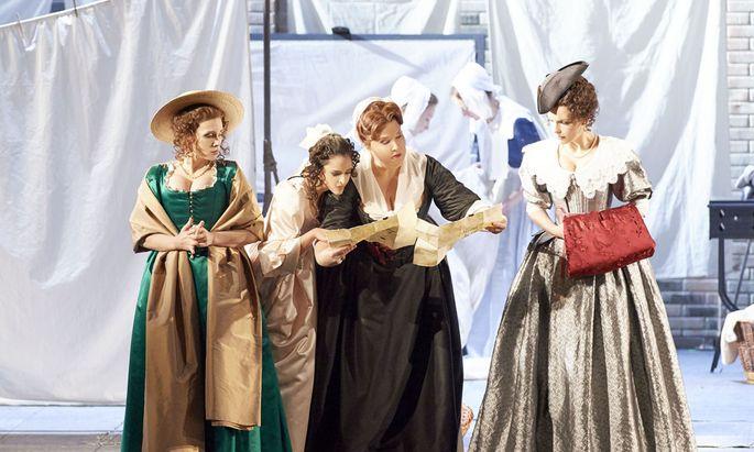Die wohltönenden Weiber von Windsor, Lilly Jørstad, Hila Fahima, Marie-Nicole Lemieux und Carmen Giannattasio.