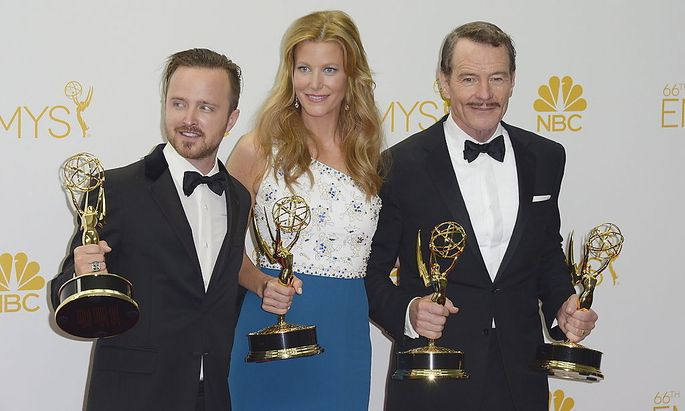 Aaron Paul, Anna Gunn und Bryan Cranston - die Hauptcharaktere der US-Dramaserie
