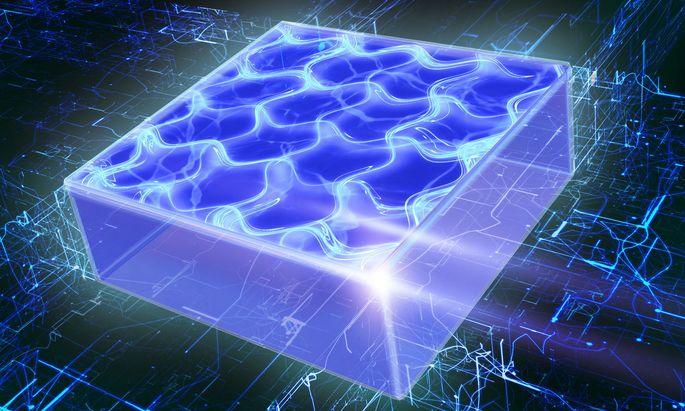 Magnetismus macht's möglich: supersolider Zustand, wie ihn ein Grafiker der Uni Innnsbruck illustriert.