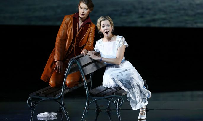 Singers Koch as Octavian and Erdmann as Sophie perform on stage during a dress rehearsal of Richard Strauss´ opera ´Der Rosenkavalier´ in Salzburg