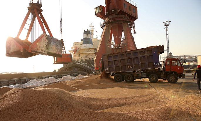 FILE PHOTO: Workers transport imported soybeans at a port in Nantong
