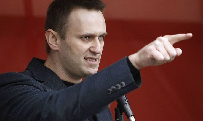 Russian opposition leader and anti-corruption blogger Alexei Navalny addresses supporters during a protest rally in Moscow