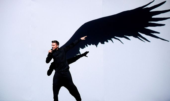 Sergey Lazarev representing Russia performs with the song ´You Are The Only One´ during the Eurovision Song Contest final at the Ericsson Globe Arena in Stockholm