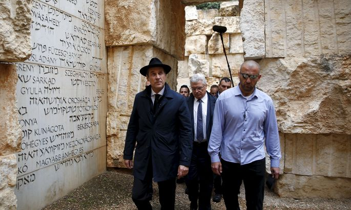 Head of the Austrian Freedom Party Strache visits ´The Valley of the Communities´ at Yad Vashem´s Holocaust History Museum in Jerusalem