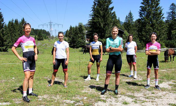 Bei Rennen der Austrian Time Trial Series am Start und damit auch im Kandidatinnenkreis für das WM-Mixed-Team: Alina Reichert, Kathrin Schweinberger, Anna Badegruber, Gabriele Erharter, Christina Schweinberger, Tina Berger-Schauer (v. l.).