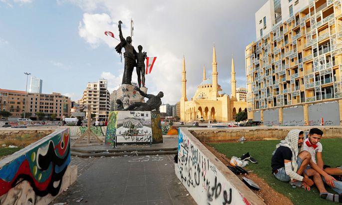 Der Zorn auf die Regierung macht sich Luft im Libanon: der Märtyrer-Platz im Zentrum der Hauptstadt, Beirut.