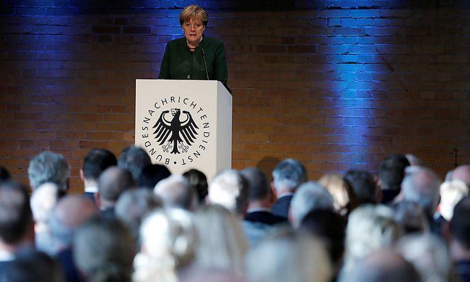 Angela Merkel sprach anlässlich des 60. Geburtstags des Bundesnachrichtendienstes in Berlin.