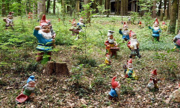Fast wie ein Wimmelbild: die Gartenzwerge des Hubhofs, die sich an vielen Stellen im Wald finden.