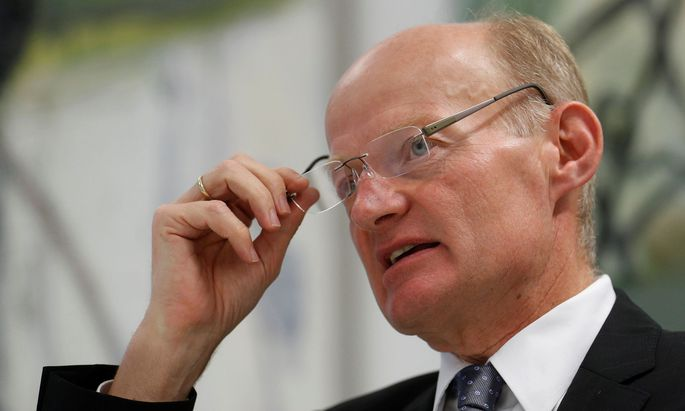 Oberbank CEO Gasselsberger talks during a Reuters interview in Vienna