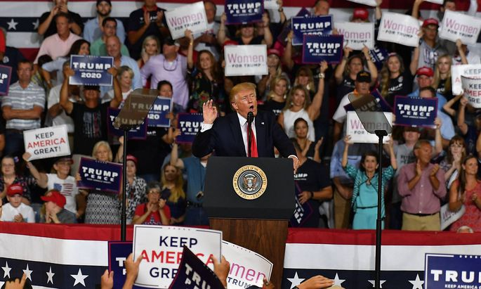 July 17 2019 Greenville NC United States U S President Donald Trump addresses supporters at