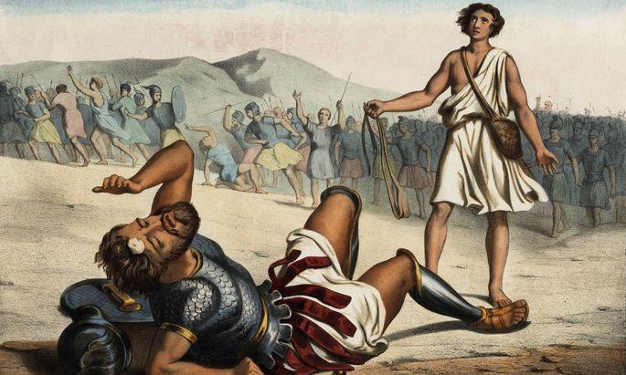 David gegen Goliath, anonyme Gravur, Mitte des 19. Jahrhunderts.