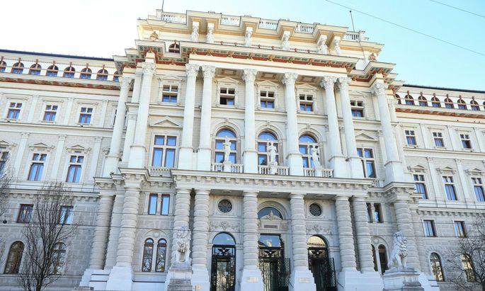 Außenaufnahme des Justizpalastes, Sitz des Obersten Gerichtshofs und des Oberlandesgerichts Wien
