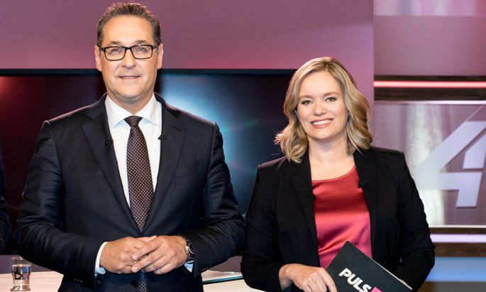 Vizekanzler Heinz-Christian Strache (FPÖ) und Puls 4-Moderatorin Corinna Milborn am Montag, 11. Juni 2018, anlässlich des Puls 4-Sommergesprächs in Wien.