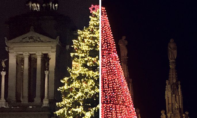 Zwei Weihnachtswelten. In Rom steht endlich wieder ein hübscher Christbaum (l.), vor dem Mailänder Dom hingegen ein beleuchteter Blechkegel.