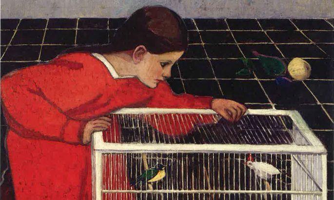 """Roter Faden der Schau ist Broncia Koller-Pinells Werk. Hier: """"Silvia Koller mit Vogelkäfig"""", 1907/08."""