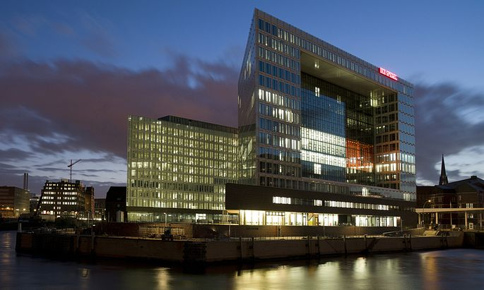 The new building housing German weekly news magazine ´Der Spiegel´ is seen in the evening in Hamburg
