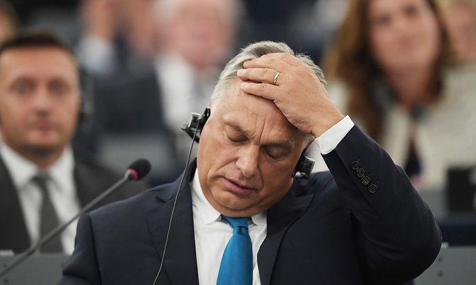 Ungarns Premier Orban vor dem EU-Parlament.
