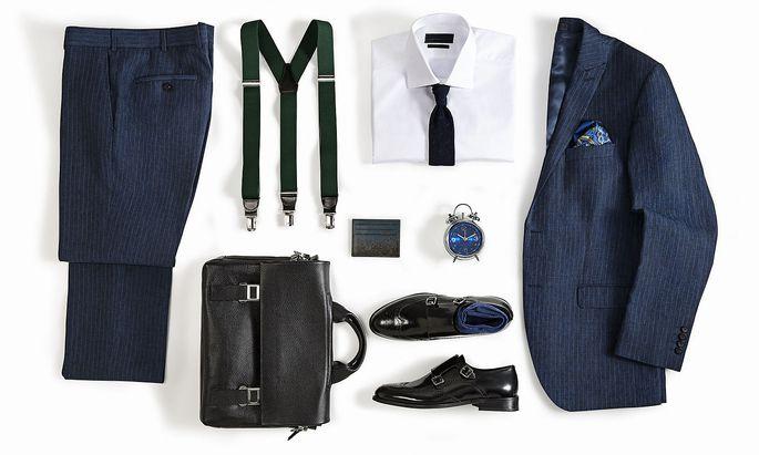 Men's clothing isolated on white background