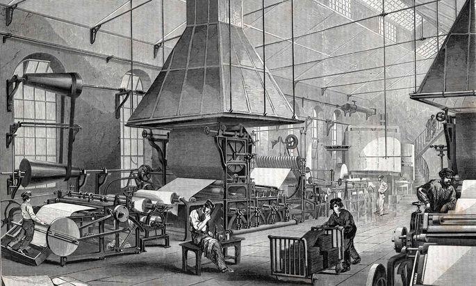 La salle des machines d une papeterie Gravure XIX�me si�cle AUFNAHMEDATUM GESCH�TZT PUBLICATIONx