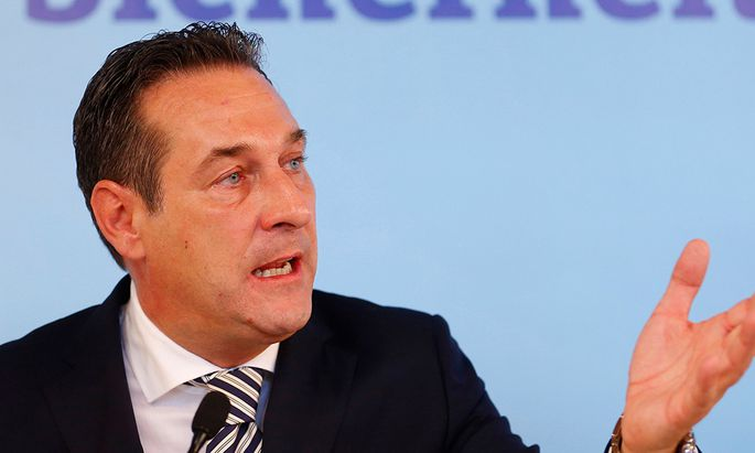 Strache of Austria´s FPOe speaks during a news conference in Vienna