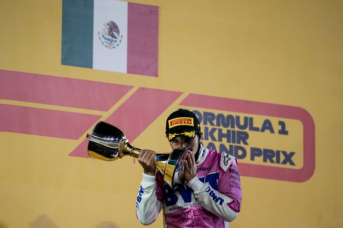 December 6, 2020, Sakhir, Bahrain: SERGIO PEREZ of Mexico and Racing Point F1 Team is seen on the podium after winning t