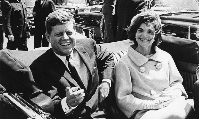 File handout image shows former U.S. President John F Kennedy and first lady Jackie Kennedy in front of the Blair House in Washington