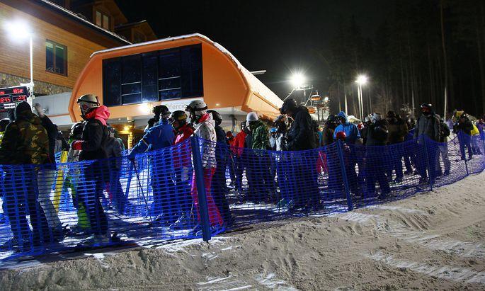 Andrang beim Skilift