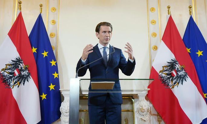 Kanzler Sebastian Kurz bei seiner Rede.
