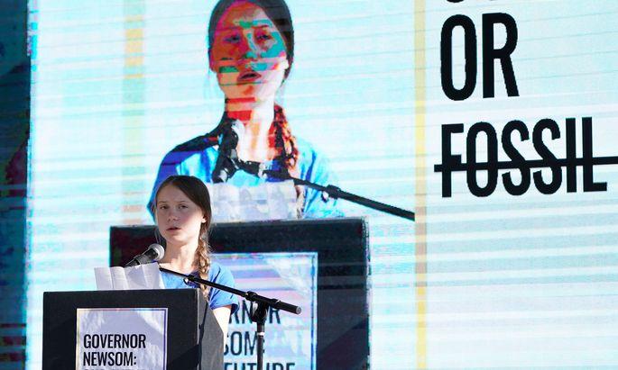 Greta Thunberg bei ihrer Rede in Los Angeles