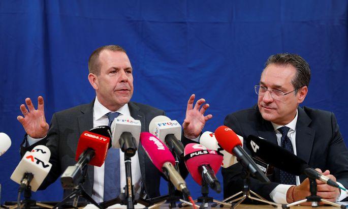 FPÖ-EU-Spitzenkandidat Harald Vilimsky und FPÖ-Chef Heinz-Christian Strache