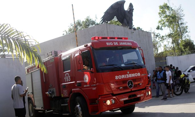 A fire truck is seen in front of the training center of Rio's soccer club Flamengo, after a deadly fire in Rio de Janeiro