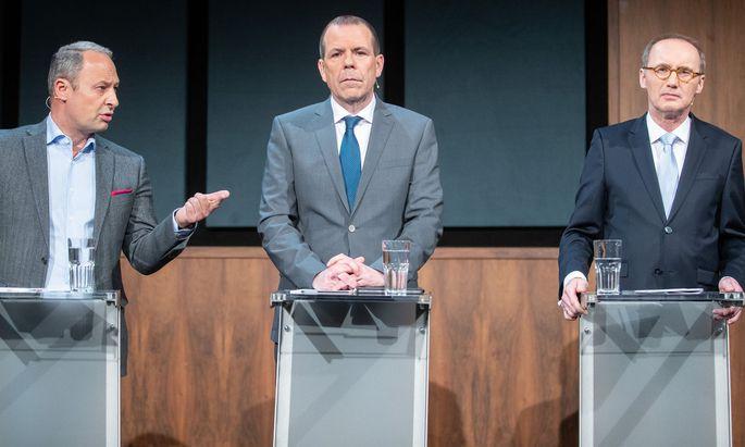 Die EU-Spitzenkandidaten Andreas Schieder (SPÖ), Harald Vilimsky (FPÖ) und Othmar Karas (ÖVP)
