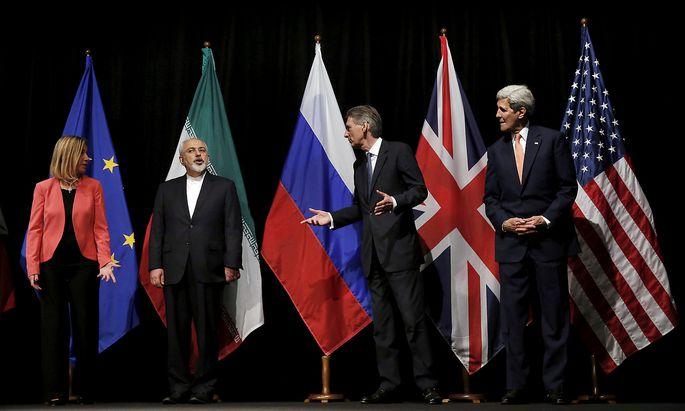 Der Iran-Deal: Der britische Außenminister Philip Hammond, US-Außenminister John Kerry, EU-Außenbeauftragte Federica Mogherini sowie der iranische Außenminister Mohammad Javad Zarif