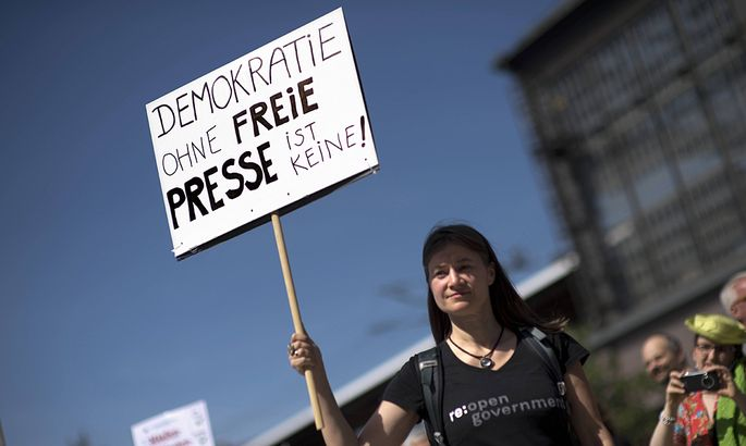 Demonstration netzpolitik org DEU Deutschland Germany Berlin 01 08 2015 Anke Domscheit Berg Pir