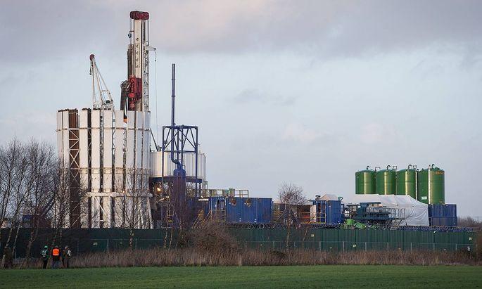 Eine Fracking-Anlage in der Nähe von Manchester