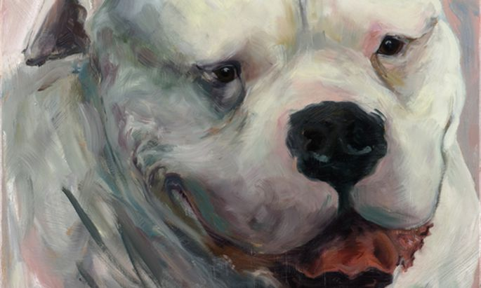 """Fiona Hernuss malt mit Vorliebe Tiere """"mit Power"""", wie sie sagt. Hier Bullterrier """"James"""", 2006."""